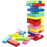 FEESHOW 48 piezas Torre de madera Block Colores Juegos de construcción Diversión de la familia del partido