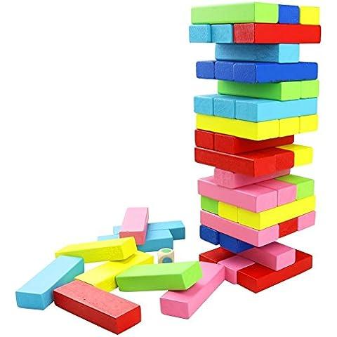 FEESHOW 48 piezas Torre de madera Block Colores Juegos de construcción Diversión de la familia del