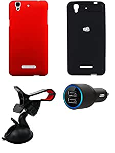NIROSHA Cover Case Car Charger Mobile Holder for YU Yureka - Combo