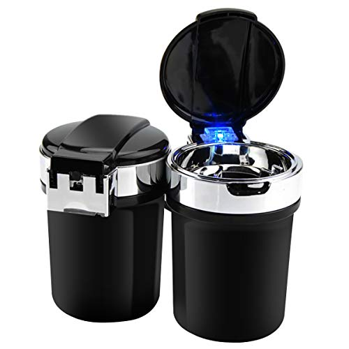 Cenicero Portátil para Coche,Portable Auto Car Smokeless Soporte Cilindro Portavasos Cenicero Cigarrillo (Negro)