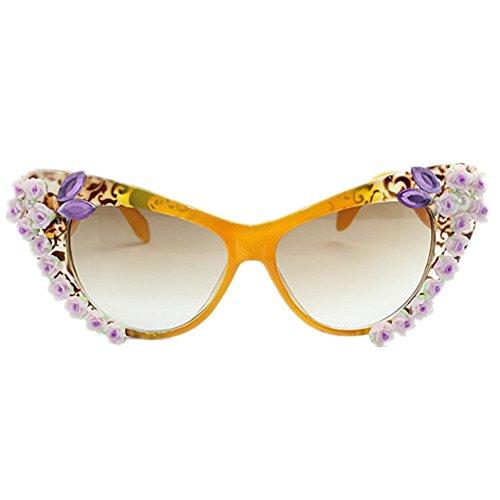 Wxx000 Sonnenbrille Lady Polarized Retro Cat Eye handgefertigte Blumen Outdoor Sport Brille