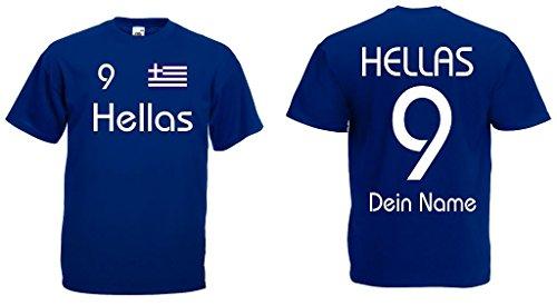 Griechenland Hellas T-Shirt mit Wunschname und Wunschnummer|m-m