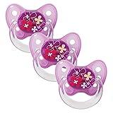 Dentistar® Latex Schnuller 3er Set - Nuckel Größe 3, ab 14 Monate - Naturkautschuk Beruhigungssauger für Babys (Blumen, lila Gr.3)