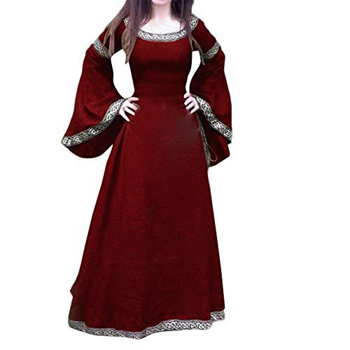 lterliches Kleid Unregelmäßige Lange Ärmel Cosplay Maxi Kleider Kostüm für Karneval, Maskerade(L,Rot) ()