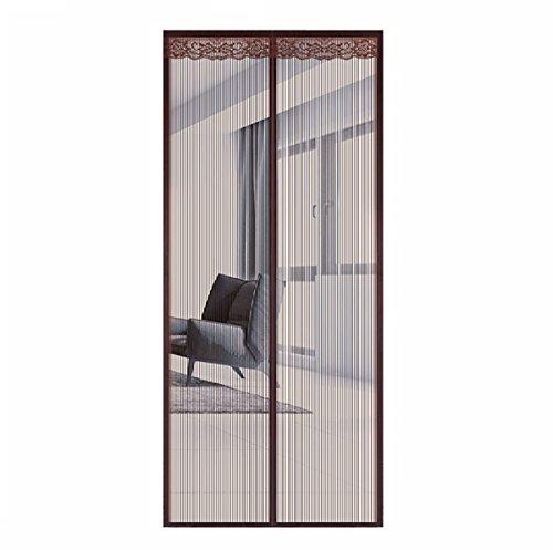 Q&f zanzariera magnetica porta finestra, mesh tenda schermo full frame velcro per porte scorrevoli, barca da pesca,garage-mano libera-let aria fresca in-marrone 70x230cm(28x91inch)