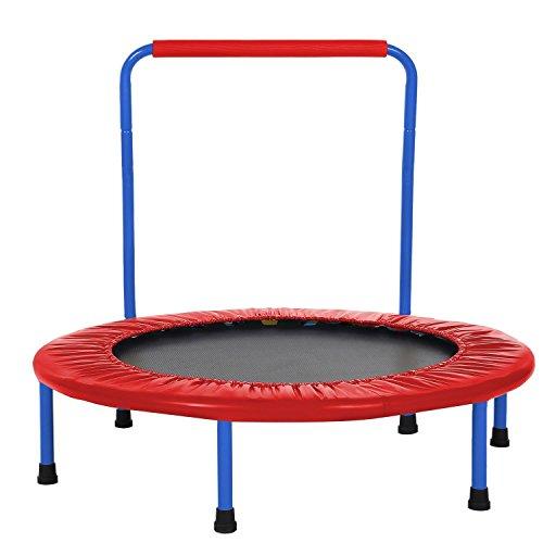 Begorey mini trampolino elastico fitness pieghevole portatile con maniglia - rosso/blu (rosso)