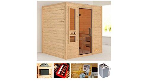 KONIFERA Sauna Rissani, Gesamtmaß: 196x170x187 cm, 38 mm, 9-kW-Ofen 9-kW-Ofen mit integrierter Steuerung