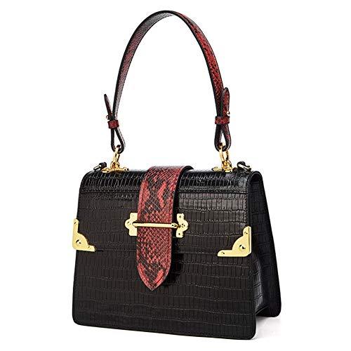 Damen Handtasche, Ledertasche, Schultertasche, Umhängetasche, Handtaschen, Damentasche, Designertasche, Vintage-Leder One Size Schwarz
