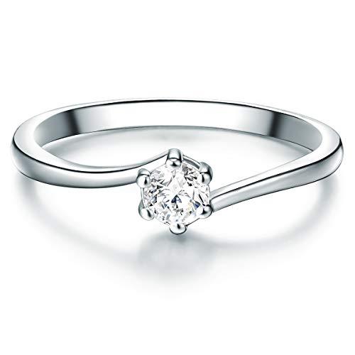 ng Verlobungsring Sterling Silber mit Zirkonia weiß in Brilliant-Schliff - Solitär-Ring mit Stein Trauring für Hochzeit ()