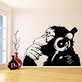 LTTGG Autocollants muraux de personnalité de motif animal mignon modèle orangsut à l'écoute au casque, salon chambre stickers muraux famille mode stickers décoratifs muraux, 55x80cm