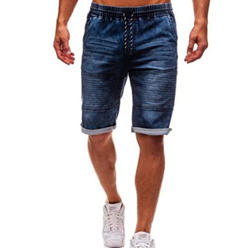 ZHANSANFM Herren Jeans Shorts Bermuda Kurze Denim Hose Straight-Cut Kurze Jeanshose mit Verstellbarem Tunnelzug Jeanshorts Sommer Kurze Stretch Hose Modern Regular Fit Elegant (S, Blau) - Bull Denim Stoff