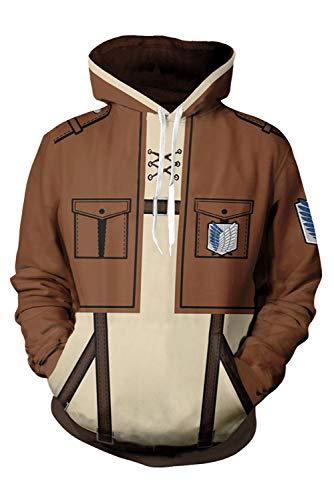 Kostüm Corps Recon - Attack on Titan Scouting Legion Recon Corps Pulli Kapuzenpulli Cosplay Kostüm Braun XL