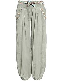 3f25b10ca967 HaiDean Damen Haremshose Frühling Herbst Locker Casual Große Größen  Schlaghose Jungen Hipster Unifarben mit Gürtel Einreihig Freizeithose…