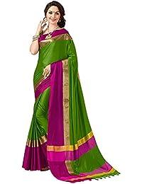 Sawalji Fashion Women's Art Silk Zari Saree With Blouse Piece (Shreehari-Aura Cotton Saree 200_Green And Pink_Free...