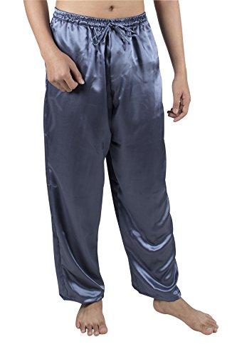 Lofbaz Herren Klassische Seide Satin Lange Pyjama PJ Lounge Hosen S-5XL Plus Feste Grau 3XL (Hosen Seide Satin)