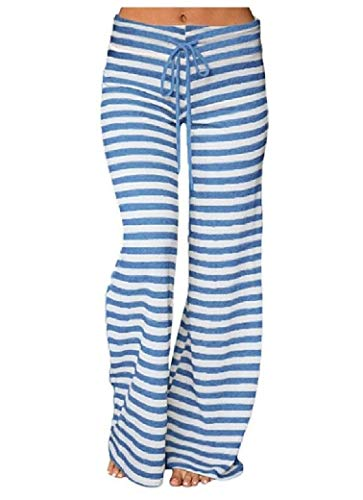 CuteRose Womens Drawstring Stripe Printing Wide-Leg Palazzo Lounge Pants 3 S -
