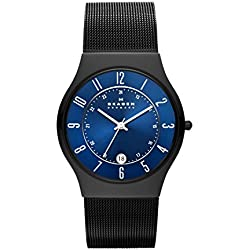 Skagen Mens Watch T233XLTMN with Black Titanium Bracelet and Blue Dial