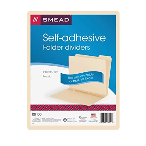 Manila Self-Adhesive Folder Dividers with Prepunched Slits, Letter, 100/Box