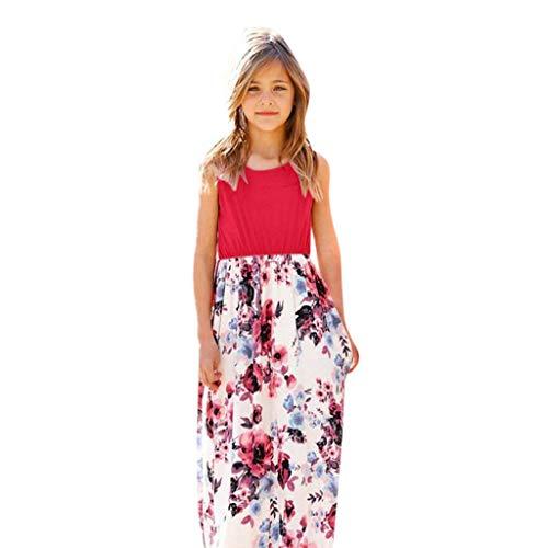 Sasstaids Heißer Baby KleidKinder Kinder Mädchen ärmellose Blumendruck lässig mit Tasche ()