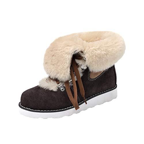 Shenduo Damen Schlupfstiefel Hochwertige Schnürstiefel Warm Gefüttert Winter Boots D9158 Schokolade 37 - Lammfell-stiefel Schokolade