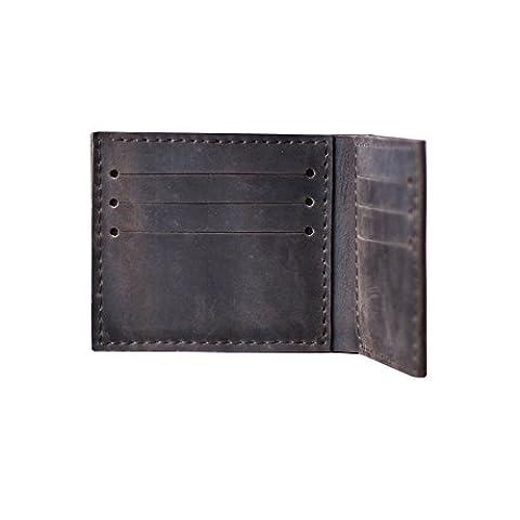 Portefeuille en cuir et fait main pour homme. Petit porte-monnaie noir. Prêt de carte Slim moins cher