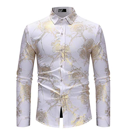 Battnot Herren Hemd Schwarz Langarm Fashion Casual Leinen Basic Bluse Top die Revers Regular Fit T Shirts Floral Gold Rose Gedruckt Männer Slim Fit Hemden Rot Weiss Weiß s m XL