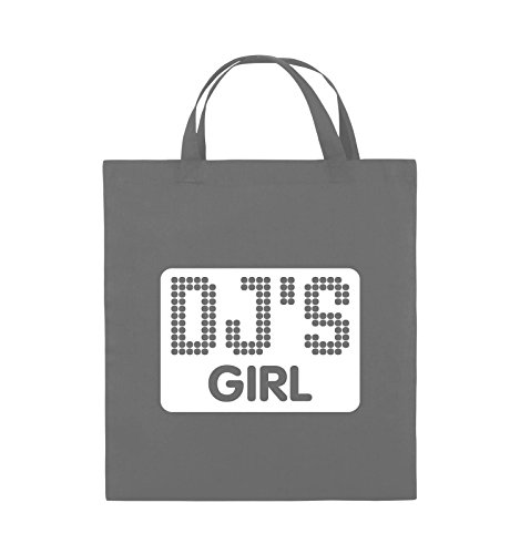 Comedy Bags - DJ'S GIRL - NEGATIV PUNKTE - Jutebeutel - kurze Henkel - 38x42cm - Farbe: Schwarz / Silber Dunkelgrau / Weiss