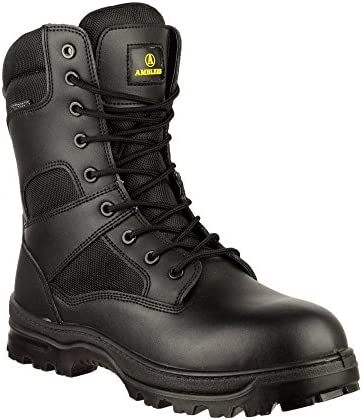 Amblers Safety Mens Combat WP Leather Waterproof Safety Boots Black