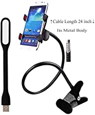 Macngrid® In combo of Premium Upgraded Metal Universal Lazy Flexible Long Arm Mobile Holder Stand and USB LED Light | Model: Macn08