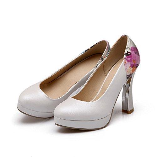 VogueZone009 Femme Matière Souple Rond à Talon Haut Tire Couleurs Mélangées Chaussures Légeres Blanc