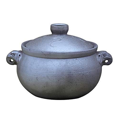 Schwarzer Tontopf,chinesisch Antike Casserole Handmade Retro Hohe Temperatur Eintopftopf Suppensteintopf Gesundheitsmedizin Topf Für Gas Feuer-a 5l