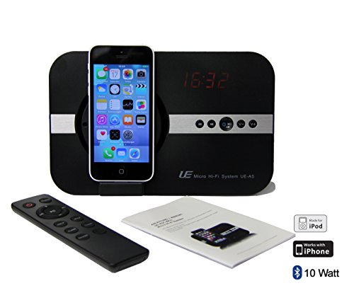 10 Watt Sound System mit eingebauter Alarm Uhr Radio Bluetooth Fernbedienung Adapter Wecker für Apple iPhone X Xs Xr iPhone 8 7 5 5S 6 6S SE Plus ipod Touch 5G iPad Pro ipad Mini Air - schwarz Ipod Touch Docking
