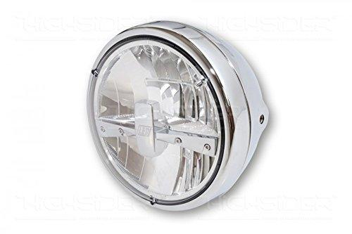 HIGHSIDER 7 Zoll LED-Scheinwerfer RENO TYP 3, Metallgehäuse chrom mit verchromtem Einsatz und chrom Blende, klares Glas 3-led-scheinwerfer