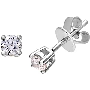 Naava Women's Platinum Stud Earrings, H/SI Certified Diamonds, Round Brilliant, 0.25ct