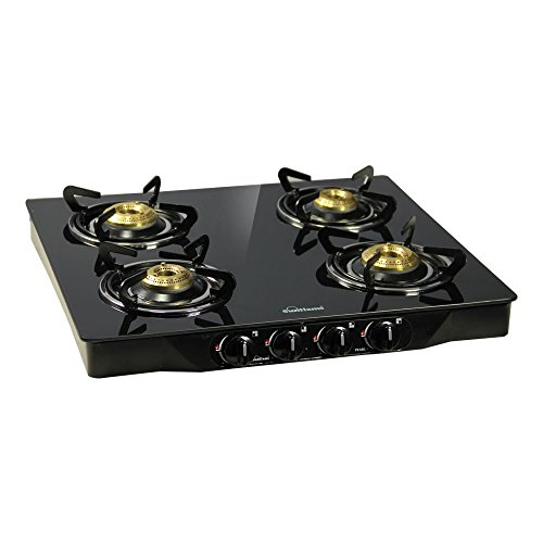 Sunflame Pearl 4 Burner Glass Top Gas Stove (Black)