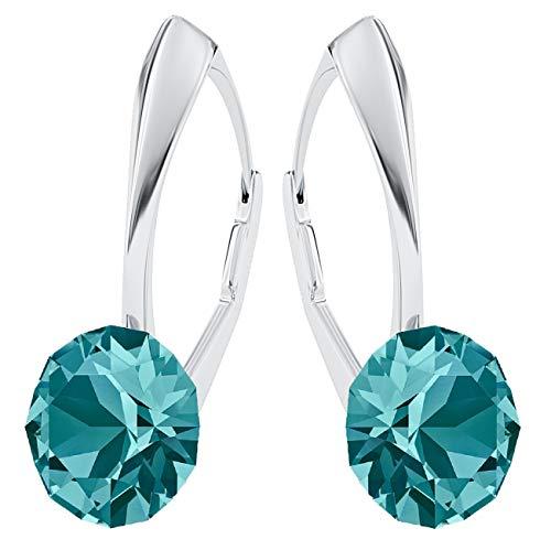 **Beforya Paris** *IMPECCABLE BRILLANTS* Silber 925 *Viele Farben* - Ohrringe mit Kristallen von Swarovski® - Schön Ohrringe Damen Ohrhänger - Wunderbare Ohrringe mit Schmuckbox (Blue Zircon)
