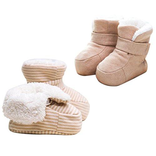 Clearance Toddler (Poliking Poliking Unisex Neugeborenes Baby Winter Streifen Cetificate Natürliche Bio Baumwolle Warm Vermeiden Fall Fall Kleinkind Schuhe (Tan + Natürlicher)