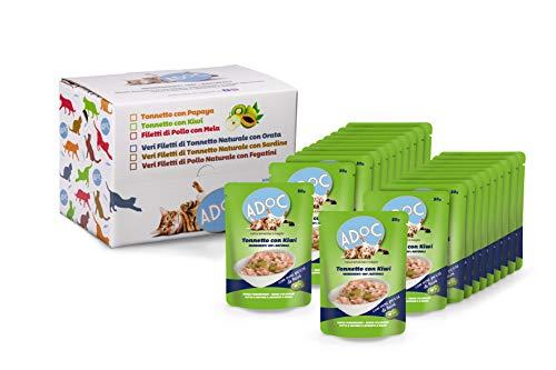 ADOC Cibo Umido per Gatti con Ingredienti Naturali al 100% al Tonno con Veri Pezzi di Kiwi - Pacco da 22 x 50 g