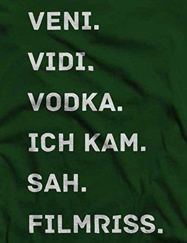 Veni Vidi Vodka Ich Kam Sah Filmriss T-Shirt S-XXL 12 Farben / Colours Dunkel Grün