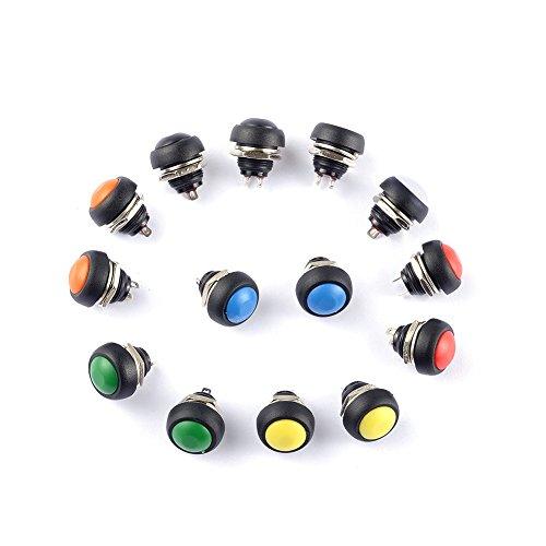 Cylewet CLW1099 - Confezione da 14 interruttori temporanei di ripristino, mini pulsanti on-off, rotondi, 12 mm, 7 colori