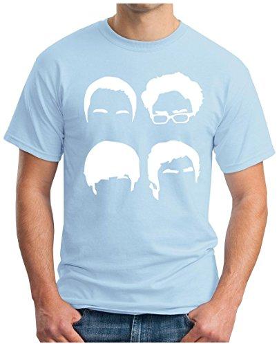 OM3 - BIG-BANG-FACES-WS - T-Shirt NERD 4 HEADS ATOM KITTY GEEK EMO FUN SITCOM TBBT SARCASM PARODY, S - 5XL Hellblau