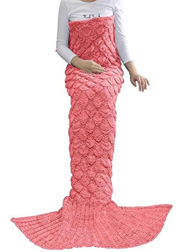 Love My Fashions® Erwachsene Fisch Schwanz Decke Crochet Cocoon Strick Bubble Mermaid Sofa Teppich lapghan Quilt Beach Kids, Baby Pink Shell, Einheitsgröße (Shell Bettwäsche)