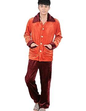 DMMSS Uomo Autunno e Inverno Pajamas Set Coppia accappatoio ispessimento flanella Sleepwear Set , l