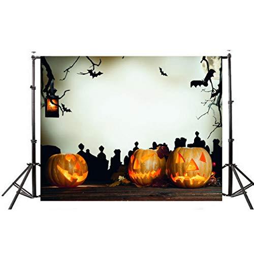 (VEMOW Halloween Party Dekoration Kulissen Kürbis Vinyl 5x3FT Laterne Hintergrund Fotografie Studio Wandaufkleber 150 * 90cm(Mehrfarbig, 150 * 90cm))