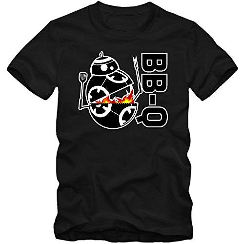 BB-Q T-Shirt | Holzfeuer | Herren | Barbecue Saison | Sommer | Fleisch | BBQ-Smoker © Shirt Happenz Schwarz (Deep Black L190)