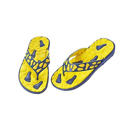 Vertvie Herren Schuhe Sommer Strand Sandalen Indoor Outdoor Slipper Zehentrenner Pantoletten Flip Flop Gelb