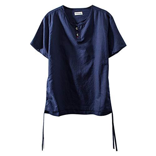 TOPKEAL Herren Sommer Bluse Tops Shirts T-Shirt Blusen Casual Art Und WeisemäNner Baumwollleinen Normallack Kurzarm Retro T Shirts (Marine 2, XXXXL)