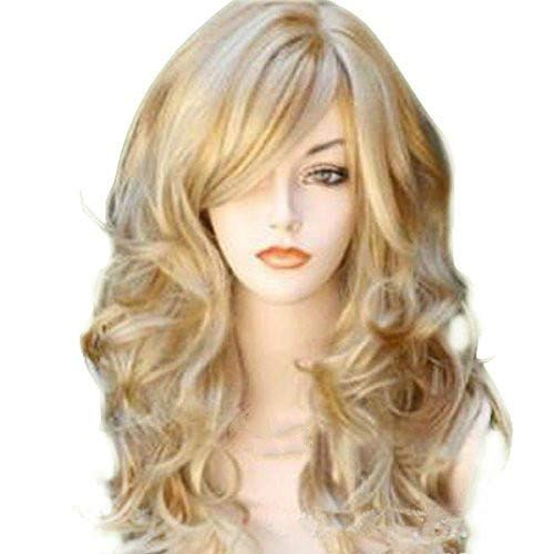 Peluca de pelo sintético para mujer, peluca de rubio rubio, mezcla de oro, natural, ondulado, sintético...