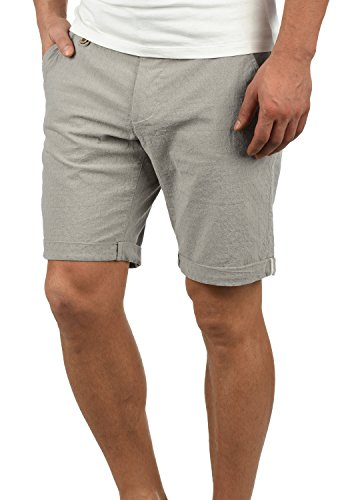 Blend Sergio Herren Chino Shorts Bermuda Kurze Hose Mit Rauten-Muster Aus 100% Baumwolle Regular Fit, Größe:L, Farbe:Granite (70147)