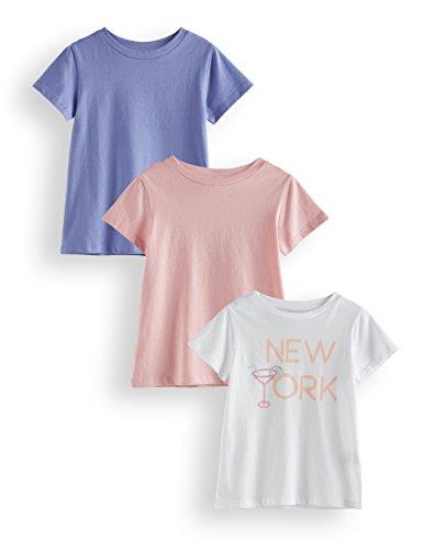 RED WAGON Mädchen T-Shirt, 3er Pack, Mehrfarbig (Off-White Coral Blush Deep Periwinkle Off-White), 152 (Herstellergröße: 12)